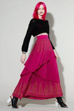 Vintage Pink Pleated Maxi Skirt #vintage #pink #pleated #pinkhair