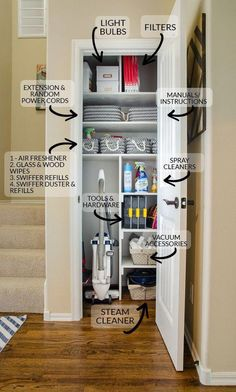 Gather all your cleaning and interior home upkeep supplies into one location like a small coat closet coats can be moved to coat hooks racks in the entry to free up this premium storage space this is the best way to organize your utility closet Small Coat Closet, Utility Closet, Front Closet, Small Closet Storage, Ikea Utility Room, Small Pantry Closet, Storage Closets, Tiny Closet, Small Space Storage