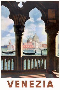 Venezia Venice, Italy http://www.vintagevenus.com.au/products/vintage_poster_print-tv294
