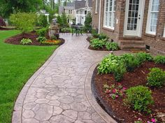 Concrete Sidewalk, Stamped, Cobble Stone Concrete Walkways QC Construction Products Madera, CA
