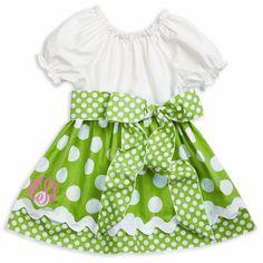 White Lime Dot Sash Dress