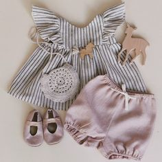 Beautiful Handmade Striped Linen Baby Blouse and Powder Pink Bloomers Rockyracoonapparel On Etsy Little Girl Outfits, Little Girl Fashion, Toddler Girl Outfits, Baby Girl Dresses, Kids Outfits, Baby Outfits, Toddler Girls, Fashion Kids, Toddler Fashion