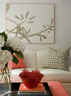 Lynn Morgan Design - Chic coral & gray living room design with white 3 cushion sofa, . the color of the pillows with the coral Coral Living Rooms, Living Room Bedroom, Bedroom Bed, Bed Room, Dorm Room, Bedroom Decor, Living Room Inspiration, Home Decor Inspiration, Color Inspiration