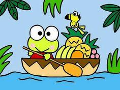 Kerokerokeroppi (Sanrio) in a boat Keroppi Wallpaper, Japan Illustration, Pochacco, Favorite Cartoon Character, Chalk Markers, Kawaii, Sanrio Characters, Sanrio Hello Kitty, Little Twin Stars