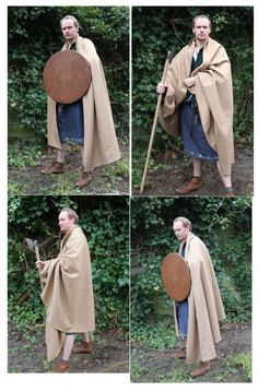 The brat was the predecessor of the Scottish kilt. Brats were presumably worn from the 3rd to the 16th century in Ireland and Scotland. The cloaks were big enough to transport a lamb, it functioned as a sleeping bag and it provided protection against rain. It was an essential part of the clothing of the Gaelic culture.    This replica is made of wool just like the original. It consists of several parts because the weaving frames were not big enough to weave the entire width of the brat in…