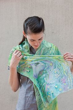 Unicorn Silk Scarf Hand Painted Silk Chiffon Scarf by SilkWonder