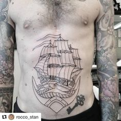 Tummy Tattoo, Belly Tattoos, Sailing Tattoo, Ancient Art, Tatting, Boat, Ship, Instagram Repost, Ink