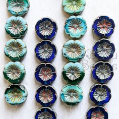 Czech Glass Flower Beads Green Glass Beads Flower by KanduBeads