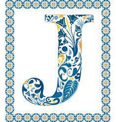 Blue floral letter j vector by nahhan on VectorStock®