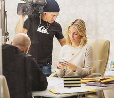 "sarahbaeumler: ""All business on set today of #BryanInc @hgtvcanada #mygrumpyface"""