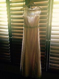 Blush lace dress with crystal sash Sash, Our Wedding, Lace Dress, One Shoulder, June, Crystal, Formal Dresses, Fashion, Band