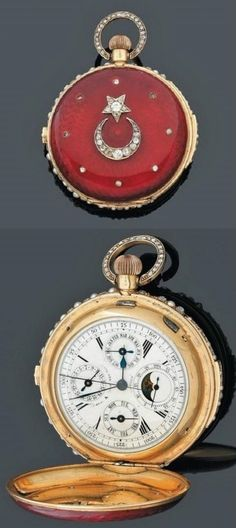 Pocket watch.  Hobson, London, 1890-1900.  Made for the Ottoman market.  Enabled gold, with diamonds.  Diameter: 6 cm.
