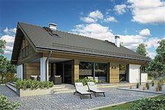 Parterowy dom z zadaszonym tarasem i garażem - Studio Atrium Atrium, Barn House Design, Modern Barn, Studio, Exterior Design, Bungalow, Pergola, New Homes, Outdoor Structures