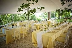 Yellow table cloths, could garnish with silver. Wedding table setup
