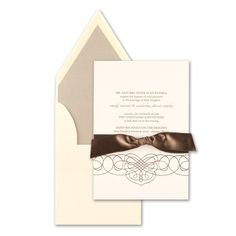 When customizing please note that only one ink color may be used for your personalization. The flourish design will print in the same color ink as your text. The taupe satin ribbon comes pretied on your invitation. This card includes cream french flap envelopes. The impressive presentation of a french flap envelope requires extra postage when addressed vertically. Price $494.00
