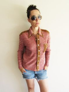 Vintage 70s Leather and Ribbed Knit Groovy Western by FunkyOldSoul
