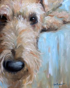 PRINT Airedale Welsh Terrier Dog Puppy Art signed Painting Gift by artist Mary Sparrow