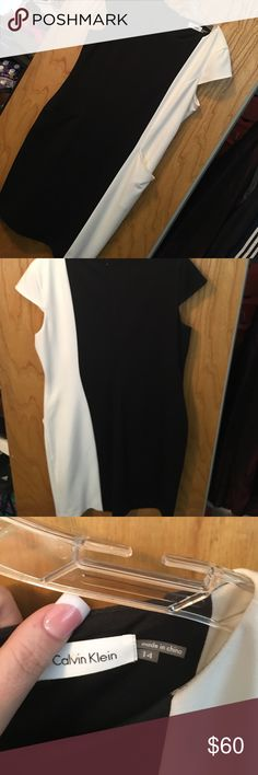 Calvin Klein Dress Black and white color block sheath dress-Porte knit stretch fabric, worn once to work event, styles pic above Calvin Klein Dresses Mini