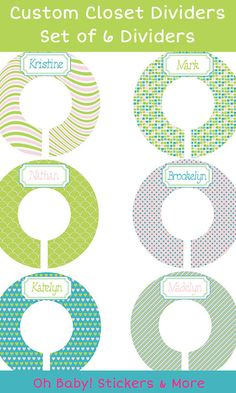 SIX Pre-Made Custom Baby Closet Dividers  Green by iDesignsbyKathy