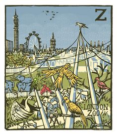 """Z - London Zoo"" from ""London A-Z"" Complete Boxed Set linocuts by Tobias Till, 2012. http://www.tobias-till.co.uk/."