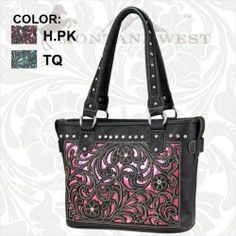 MONTANA WEST Hot Pink LCT-8317 Cowgirl Rhinestone Western Handbag