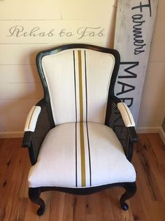 Gorgeous fabric painted chair makeover