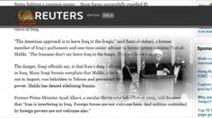 گزارش رويتر از دخالتهاى رژيم در عراق سيماى آزادى – 22 آبان 1393  ====== Mojahedin – Iran – Resistance – Simay  Azadi -- مجاهدين – ايران – مقاومت – سيماي آزادي