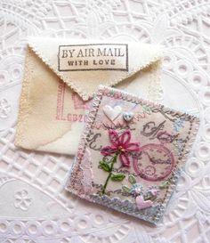Vintage Postcard Style Embroidered Brooch