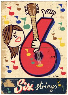 Six Strings by Paul Thurlby Graphic Illustration, Graphic Art, Vintage Numbers, Letters And Numbers, Math Numbers, Heart Art, Music Notes, Crafts To Do, Vintage Books