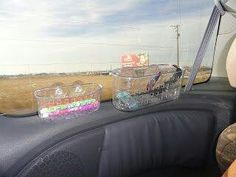 Suction cup shower baskets on windows for a road trip, make sure the kiddos keep busy, better trip for everyone!