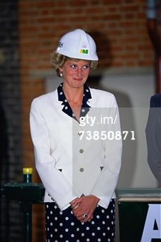 Princess Diana (1961 - 1997) wearing a Paul Costelloe suit and a hard hat at a topping-out ceremony at the Royal Marsden Hospital, London, June 1990. (Photo by Terry Fincher/Princess Diana Archive/Getty Images)
