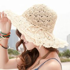 Chic Bow Rope Lace-Up Embellished Openwork Crochet Hook Straw Hat For Women #men, #hats, #watches, #belts, #fashion