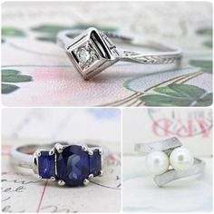 Pretty and unique pieces for non-traditional bridal. Find your one-of-a-kind ring today! See these and more on Etsy now- click the link in our profile!  #engaged #weddinginspiration #fergusonsfinejewelry