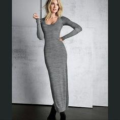 NWT Heather Gray Long Sleeved Maxi Dress Super cute and EXTREMELY comfortable heather gray maxi dress with long sleeves and a semi-open back. Size small; runs true to size but can stretch and fit up to a size medium. Made with 83% polyester, 13% rayon and 4% spandex. Made by H.I.P. (Happening In the Present), a Nordstrom brand. H.I.P. Dresses Maxi