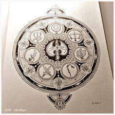 """Arte encomendada! """"MANDALA 8 ORIXÁS, COM XANGÔ NO CENTRO"""" Técnica: bico de pena s/ papel 224g/m², tamanho 40X29cm. https://www.instagram.com/notovitch/"""