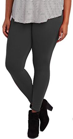 Lush Moda Extra Soft Leggings - Variety of Colors -Plus Size Yoga Waist - Charcoal ** You can get additional details at the sponsored image link.
