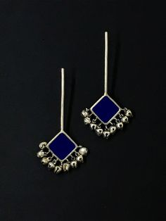 Royal Blue Silver Handcrafted Brass Ghungroo Stick Earrings