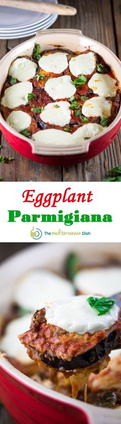 Classic Italian Eggplant Parmigiana Recipe | The Mediterranean Dish. Recipe comes with step-by-step photos from The Mediterranean Dish. Delicious!