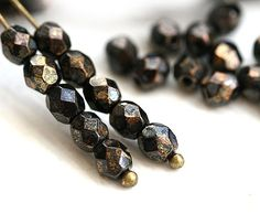 4mm Czech glass beads  Jet Black with Bronze picasso by MayaHoney, $1.70