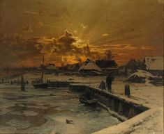 Fishing Village in Winter by Walter Moras 1886 Oil on Canvas (Private Collection)