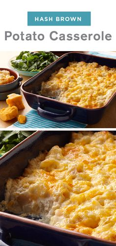 This easy-to-make side uses convenient products like frozen hash browns and cream of potato soup that combine with sour cream and cheese Make this mouthwatering Hash Brown Potato Casserole recipe for your table this holiday season Cheese Hashbrown Potatoes, Cheese Potato Casserole, Breakfast Potato Casserole, Hash Brown Casserole, Breakfast Potatoes, Sour Cream Potatoes, Cream Of Potato Soup, Cambells Soup Recipes, Brunch Recipes