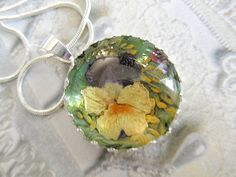 Pansy Garden with Sweet Yellow Clover by giftforallseasons on Etsy