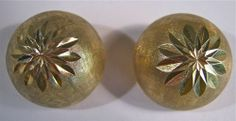 """Large 3 4"""" Gorgeous Clip on Star Burst Dome Earrings Vintage 14k Solid Gold   eBay"""