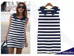 2016 Korean Origina New Denim Sailor Collar Sleeveless Slim Casual Stripe Jeans Dress Ladies Blouse Tops B2 Sv000999 Vestidos Cheap Summer Dresses Strapless Dresses From Jerry011, $5.02| Dhgate.Com