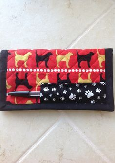 Quilted Checkbook Cover Labrador Red Black by TheBattyQuilter