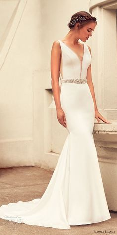 paloma blanca spring 2018 bridal sleeveless deep plunging v neck simple clean side open elegant mermaid wedding dress v back short train (10) mv -- Paloma Blanca Spring 2018 Wedding Dresses