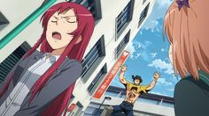 """The Devil Is a Part-Timer! Maou looks like he is going """"rawr"""" in the background."""