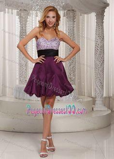 Sweetheart Beaded Beauty Pageant Dresses with Belt Dark Purple