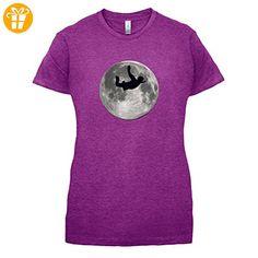 Sky Diving Moon - Damen T-Shirt - Beere - L (*Partner-Link)
