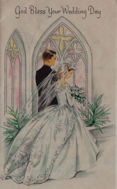 Vintage Breathtaking Bride and Groom Window Wedding Greeting Card Vintage Wedding Cards, Vintage Greeting Cards, Vintage Bridal, Wedding Bells Clip Art, Wedding Art, Wedding Painting, Wedding Anniversary Cards, Here Comes The Bride, Vintage Images
